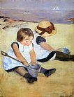 Mary Cassatt Children Playing On The Beach painting